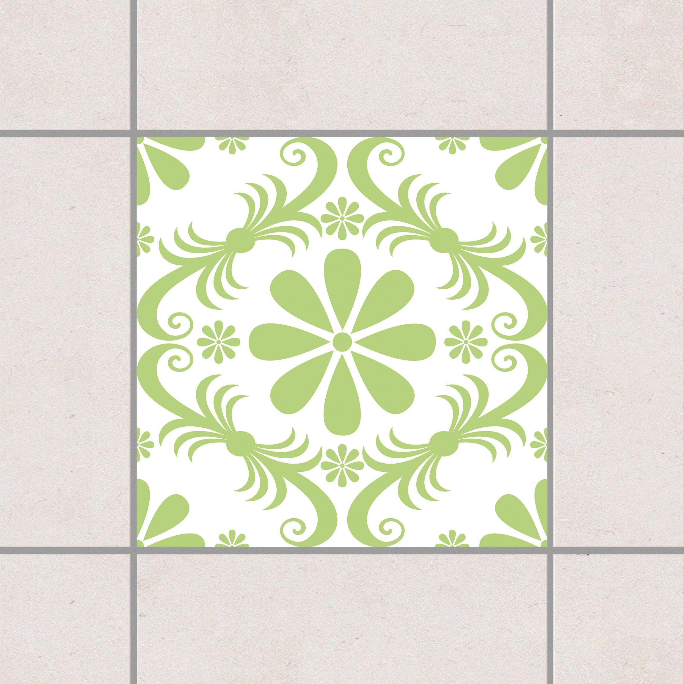 Fliesenaufkleber blumendesign white spring green 15x15 for Fliesensticker 15x15