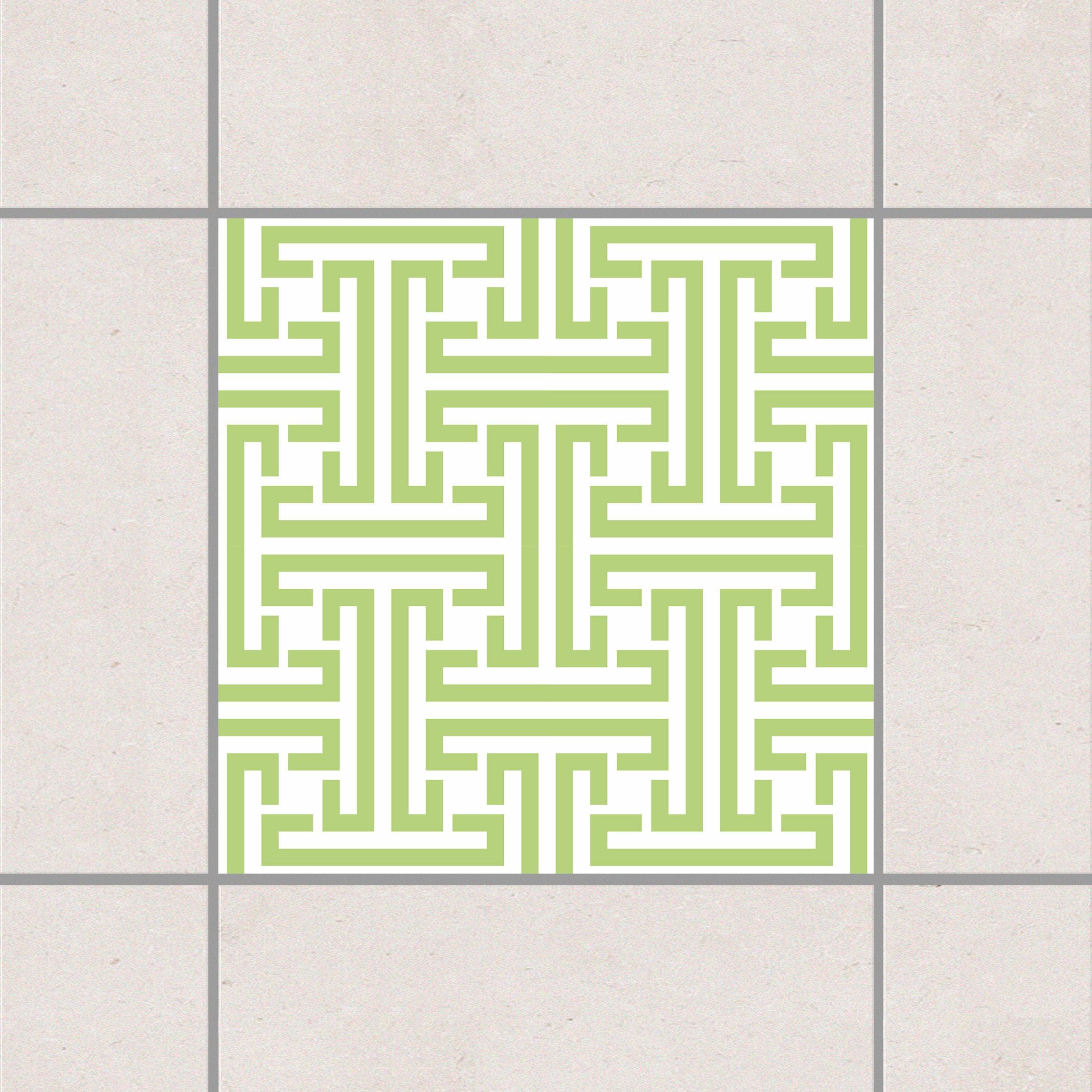 Fliesenaufkleber dekoratives labyrinth spring green for Fliesensticker 15x15
