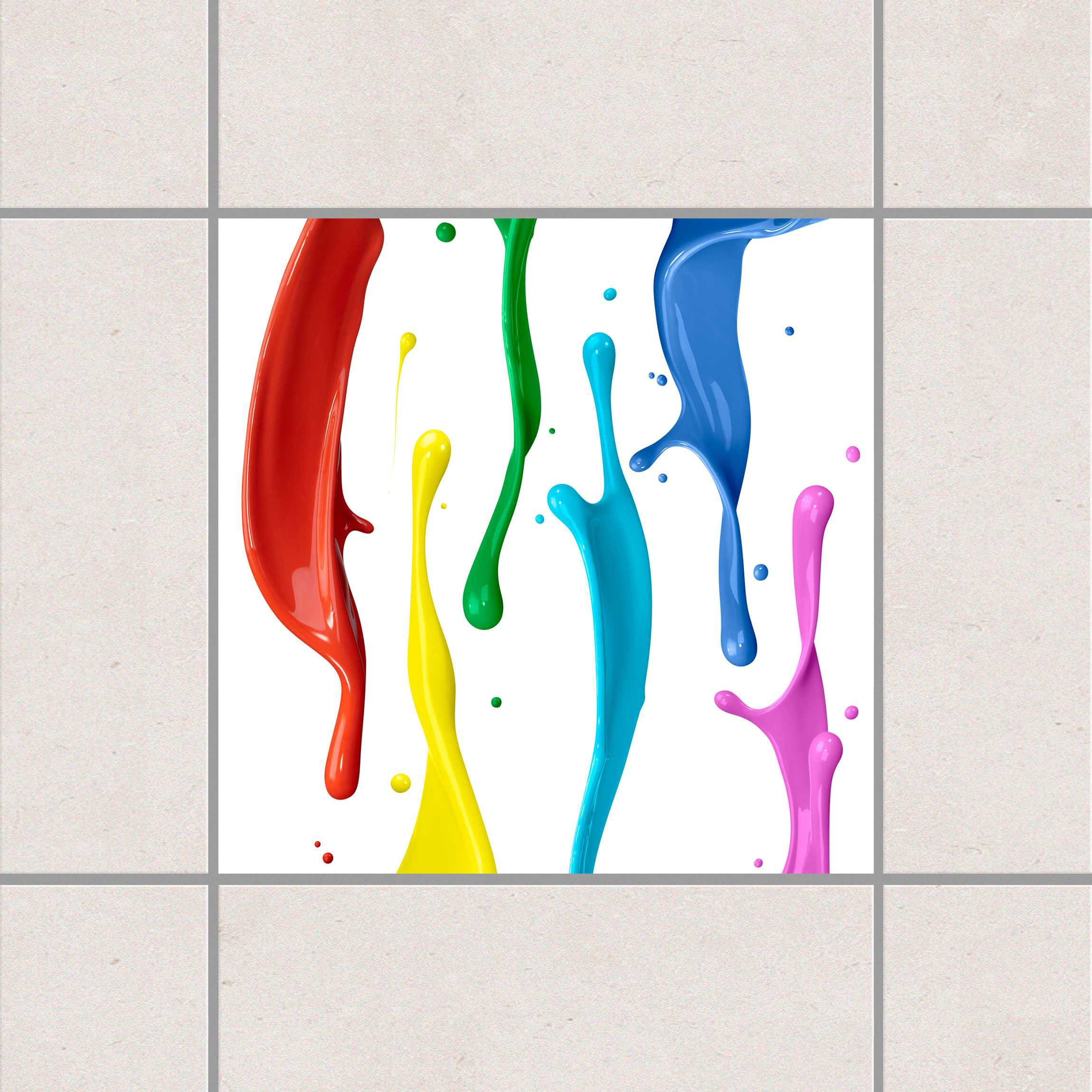 Fliesenaufkleber farbspritzer 15x15 cm fliesensticker set for Fliesensticker 15x15