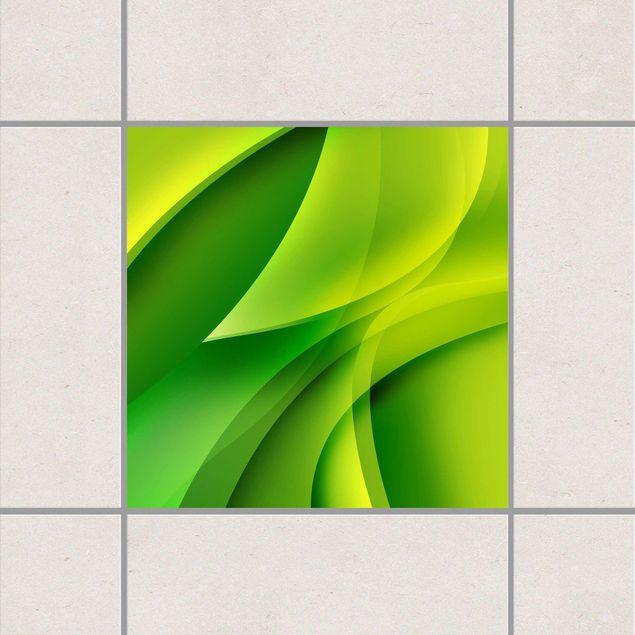 Produktfoto Fliesenaufkleber - Green Composition 15x15 cm - Fliesensticker Set Grün