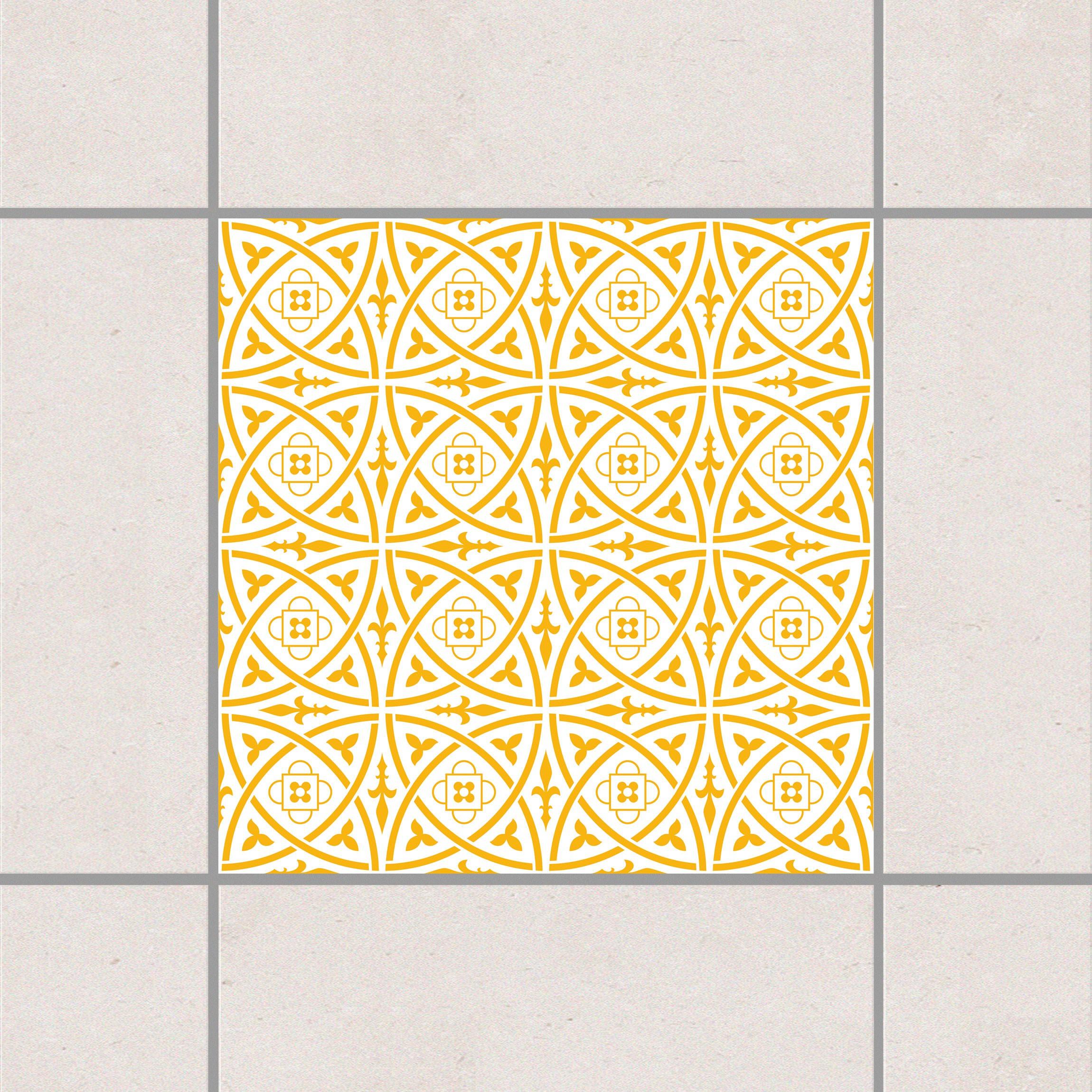 Fliesenaufkleber keltisch white melon yellow 15x15 cm for Fliesensticker 15x15