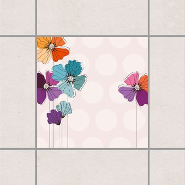 Product picture Tile Sticker - Poppies In Pastel 15cm x...