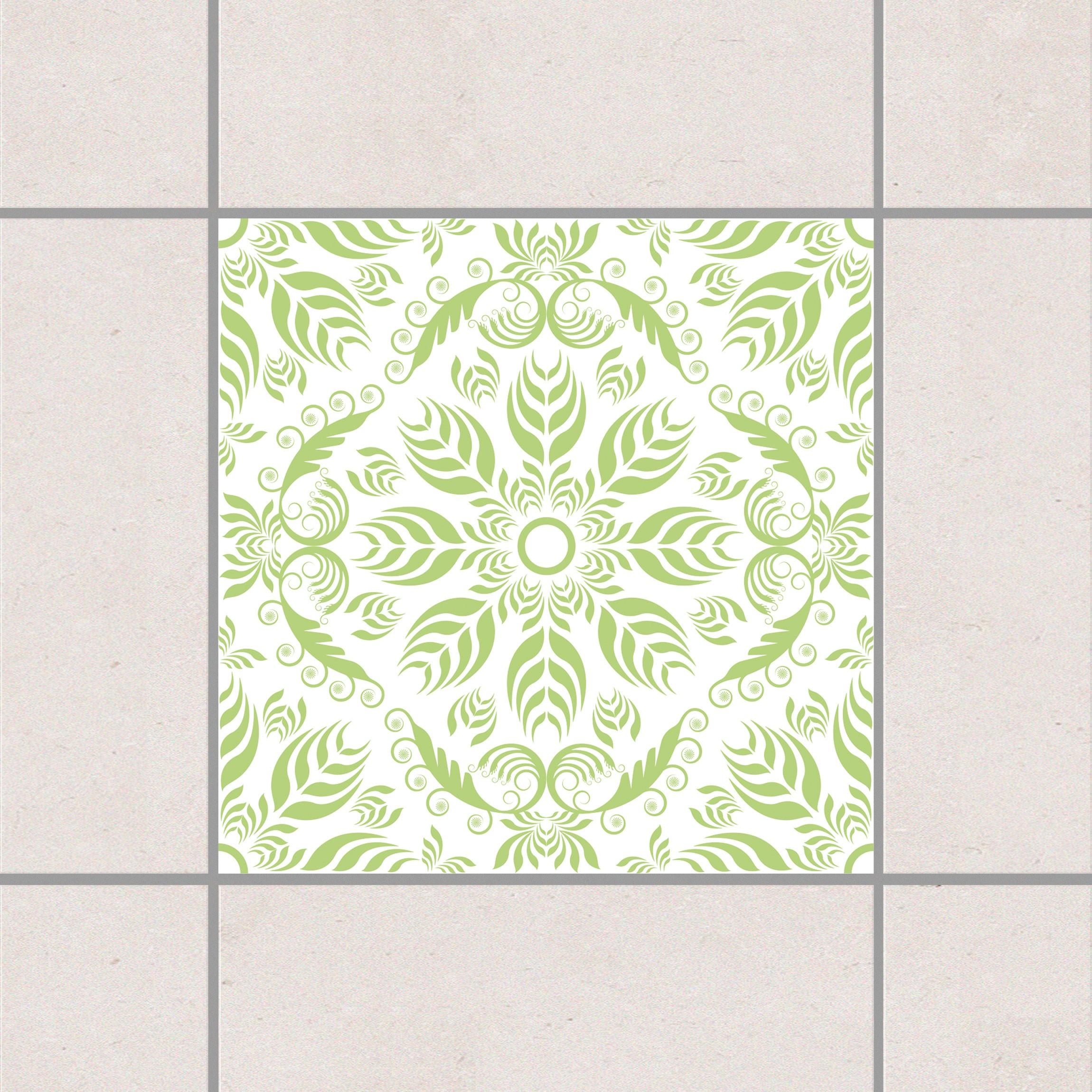 Fliesenaufkleber rosamunde white spring green 15x15 cm for Fliesensticker 15x15