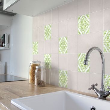 Product picture Tile Sticker - Vera Pink White Spring...