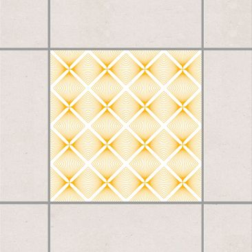 Produktfoto Fliesenaufkleber - Zartes Vintage Caro White Melon Yellow 15x15 cm - Fliesensticker Set