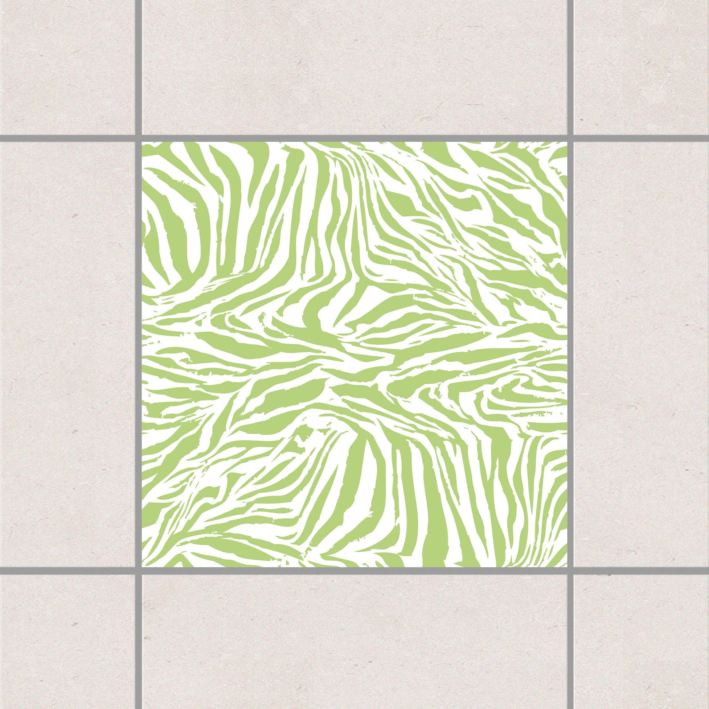Fliesenaufkleber zebra design spring green 15x15 cm for Fliesensticker 15x15