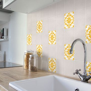 Product picture Tile Sticker - White Floral Melon Yellow...