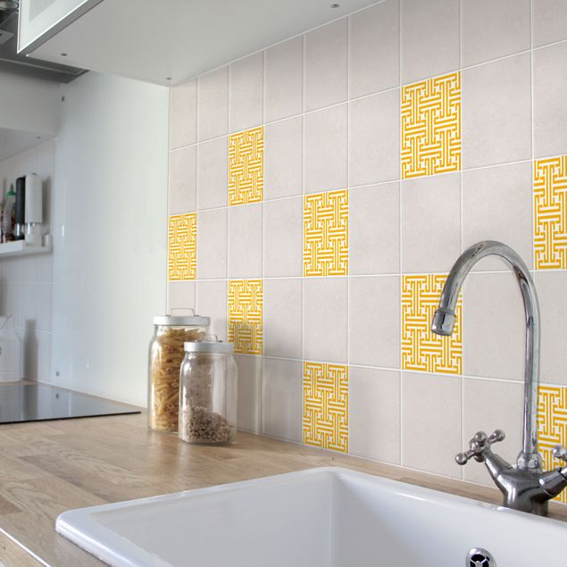 Produktfoto Fliesenaufkleber - Dekoratives Labyrinth Melon Yellow 20x20 cm - Fliesensticker Set