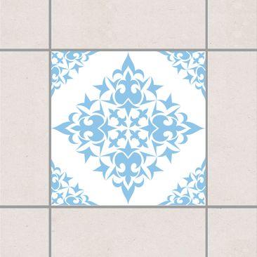 Produktfoto Fliesenaufkleber - Fliesenmuster White Light Blue 20x20 cm - Fliesensticker Set Blau