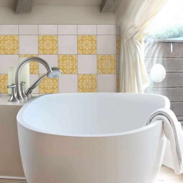 Produktfoto Fliesenaufkleber - Rosamunde Melon Yellow 20x20 cm - Fliesensticker Set Gelb