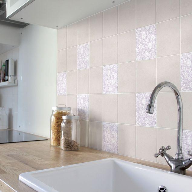 Produktfoto Fliesenaufkleber - Sezession White Lavender 20x20 cm - Fliesensticker Set Flieder
