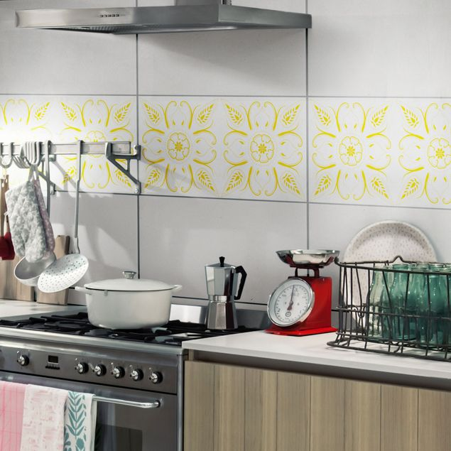 Produktfoto Fliesenaufkleber - Bandana White Melon Yellow 30x60 cm - Fliesensticker Set Gelb