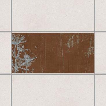 Immagine del prodotto Adesivo per piastrelle - Blue flowers drawing 30cm x 60cm
