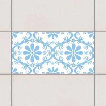 Produktfoto Fliesenaufkleber - Blumendesign White Light Blue 30x60 cm - Fliesensticker Set Blau