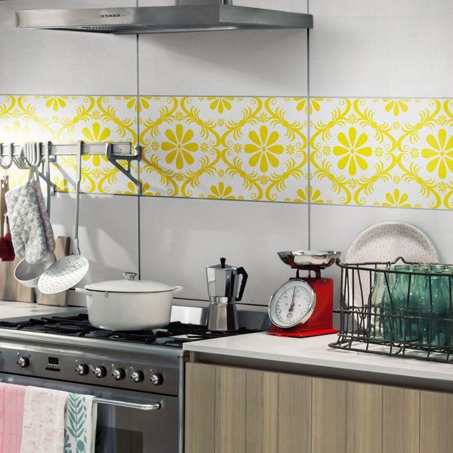 Produktfoto Fliesenaufkleber - Blumendesign White Melon Yellow 30x60 cm - Fliesensticker Set