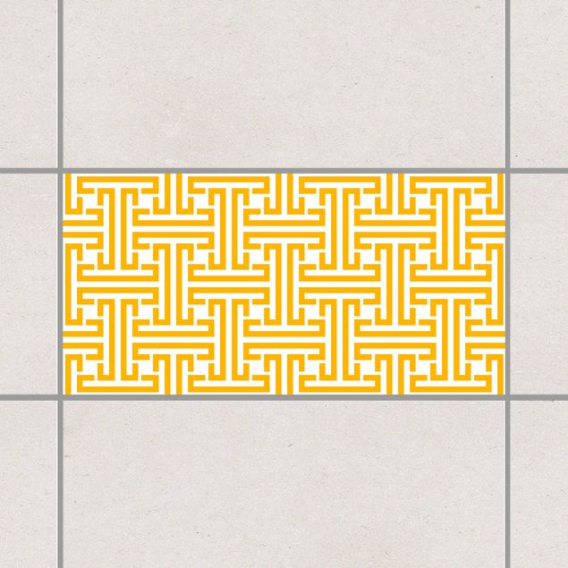 Produktfoto Fliesenaufkleber - Dekoratives Labyrinth Melon Yellow 30x60 cm - Fliesensticker Set Gelb