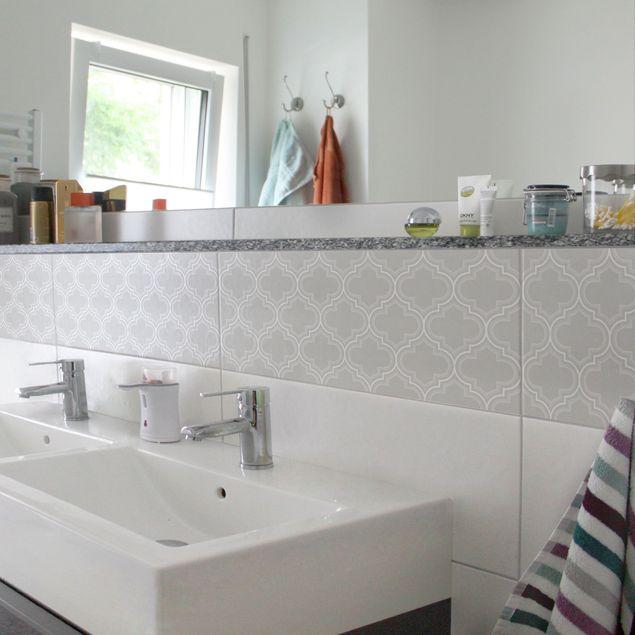 Produktfoto Fliesenaufkleber - Retro Marokko Light Grey 30x60 cm - Fliesensticker Set Grau