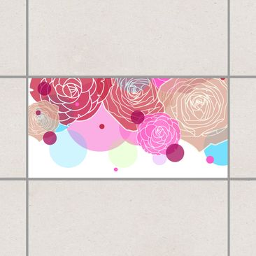 Product picture Tile Sticker - Roses and Bubbles 30cm x...
