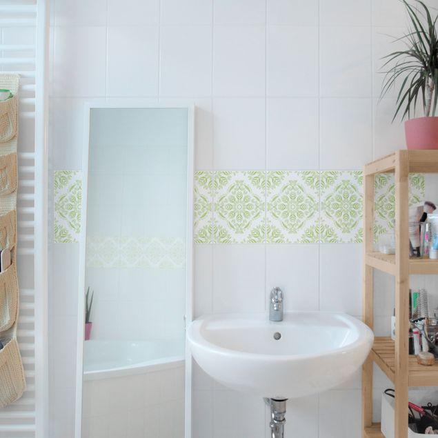 Produktfoto Fliesen Bordüre - Rosamunde White Spring Green 20x15 cm - Fliesenaufkleber