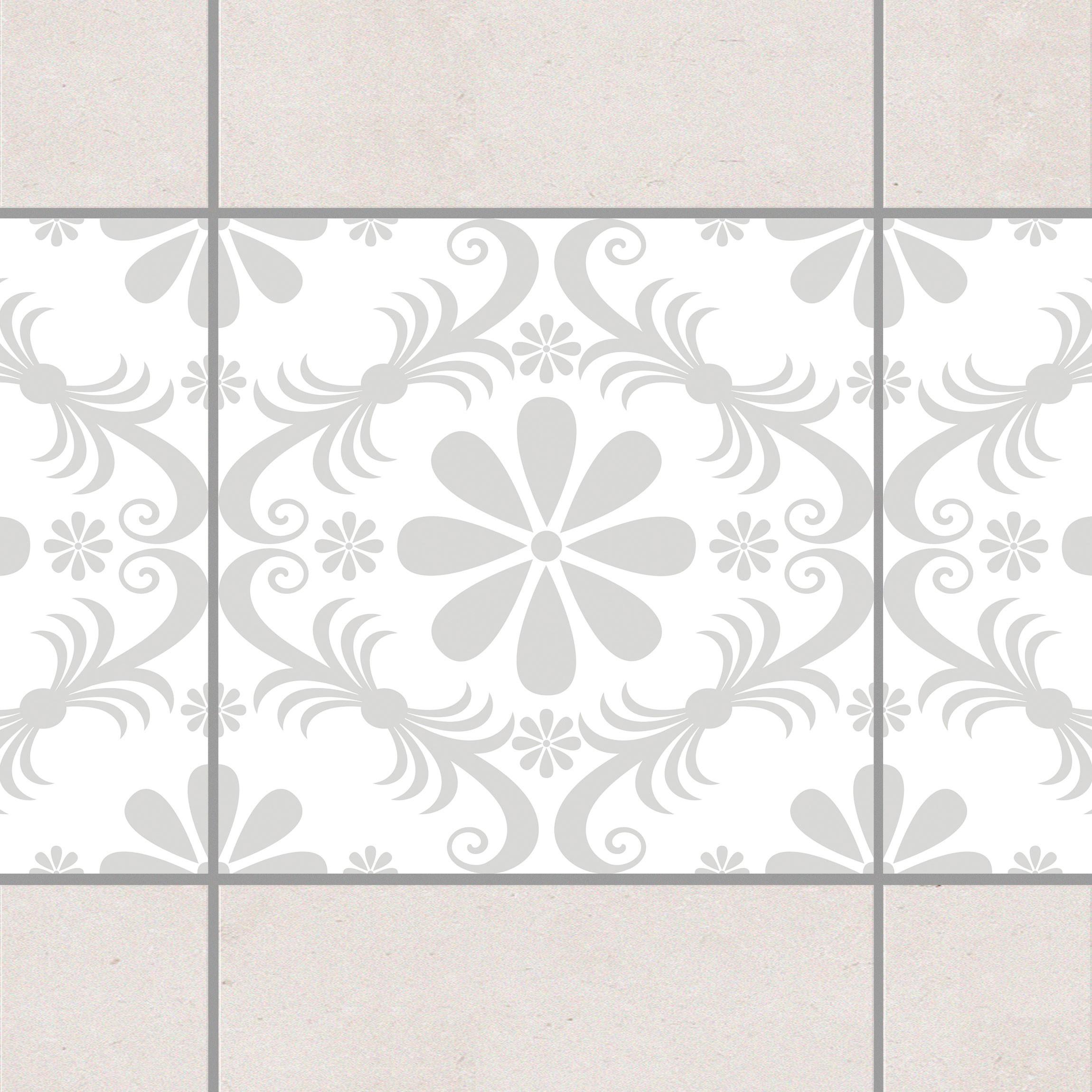 fliesen bord re blumendesign white light grey 10x10 cm fliesenaufkleber grau. Black Bedroom Furniture Sets. Home Design Ideas