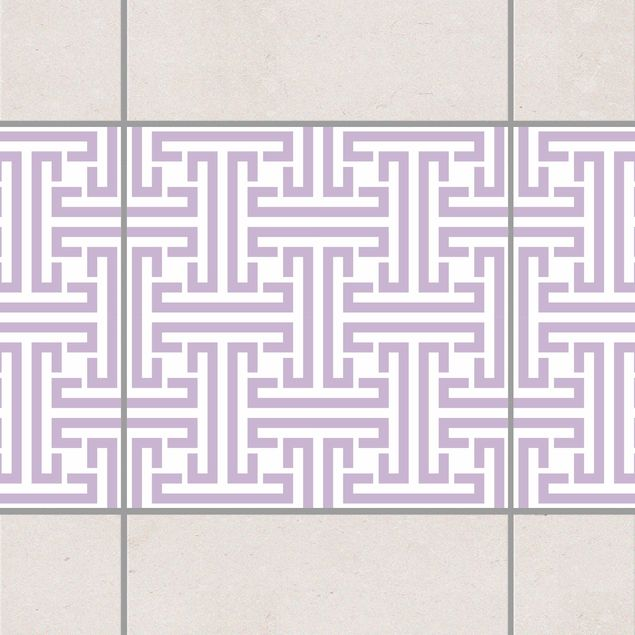 Produktfoto Fliesen Bordüre - Dekoratives Labyrinth Lavender 10x10 cm - Fliesenaufkleber Flieder