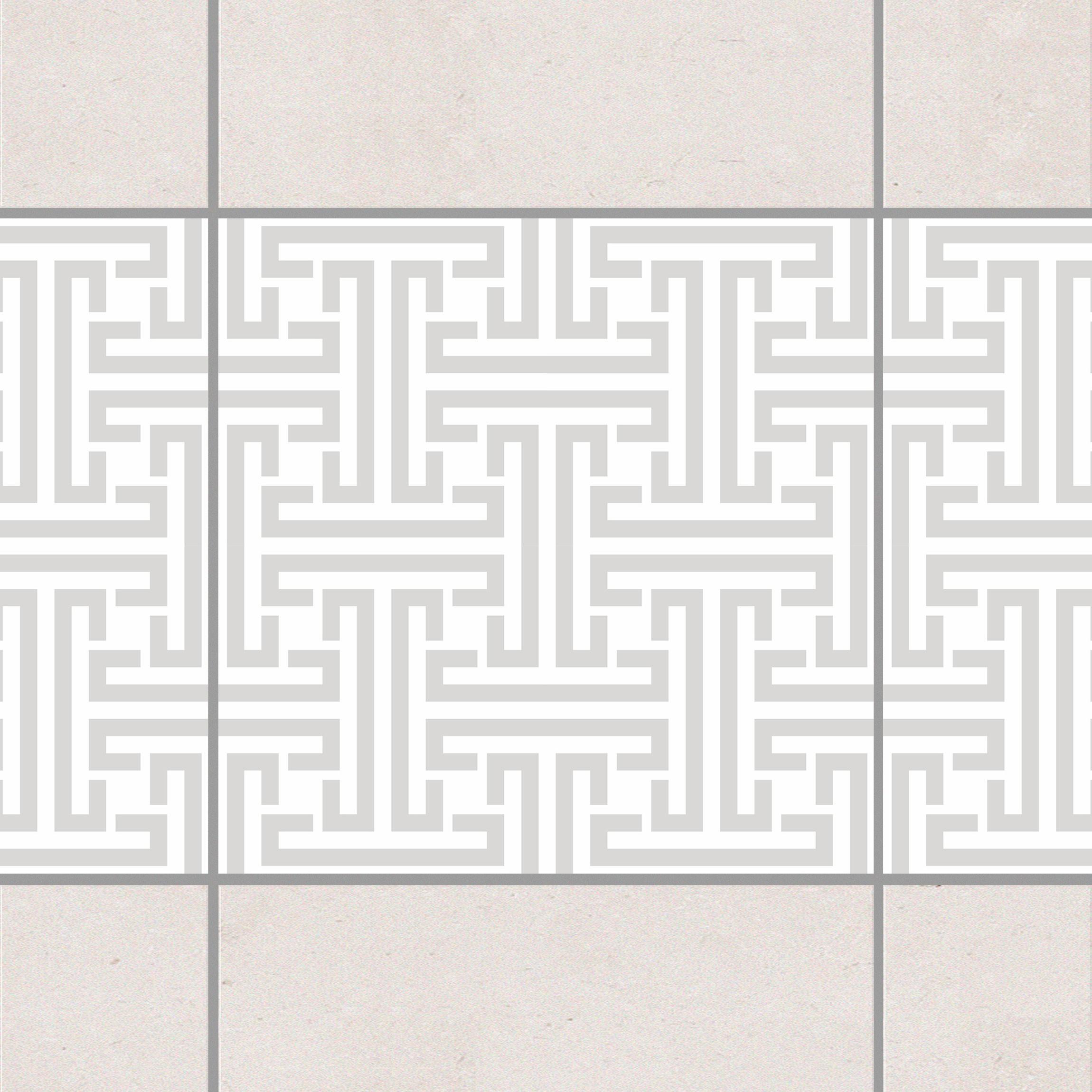 fliesen bord re dekoratives labyrinth light grey 10x10 cm fliesenaufkleber grau. Black Bedroom Furniture Sets. Home Design Ideas