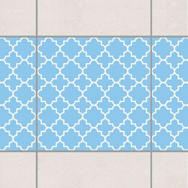 Produktfoto Fliesen Bordüre - Traditional Quatrefoil Light Blue 10x10 cm - Fliesenaufkleber Blau