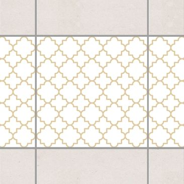 Produktfoto Fliesen Bordüre - Traditional Quatrefoil White Light Brown 10x10 cm - Fliesenaufkleber Beige
