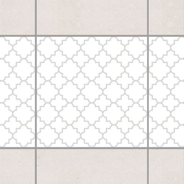 Produktfoto Fliesen Bordüre - Traditional Quatrefoil White Light Grey 10x10 cm - Fliesenaufkleber Grau