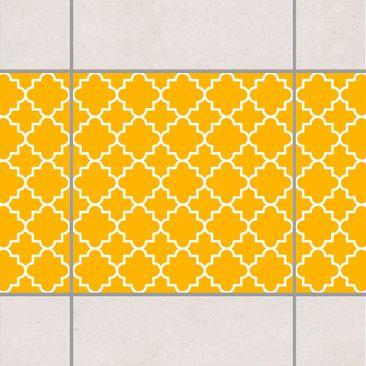 Produktfoto Fliesen Bordüre - Traditional Quatrefoil Melon Yellow 20x20 cm - Fliesenaufkleber Gelb