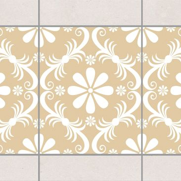 Produktfoto Fliesen Bordüre - Blumendesign Light Brown 25x20 cm - Fliesenaufkleber Beige