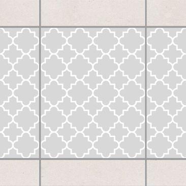 Produktfoto Fliesen Bordüre - Traditional Quatrefoil Light Grey 25x20 cm - Fliesenaufkleber Grau