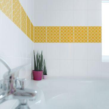 Produktfoto Fliesen Bordüre - Traditional Quatrefoil Melon Yellow 25x20 cm - Fliesenaufkleber Gelb