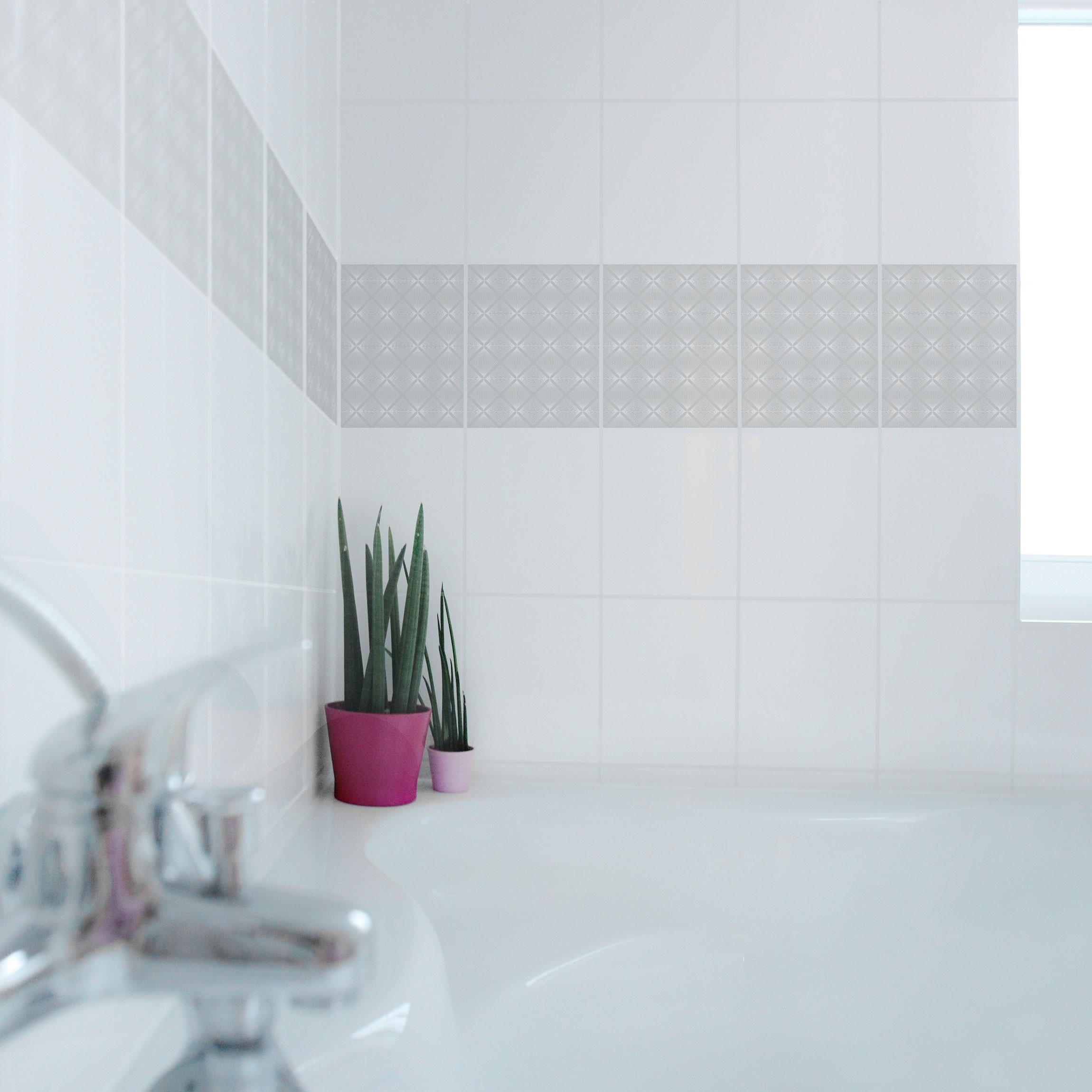 fliesen bord re zartes vintage caro light grey 25x20 cm fliesenaufkleber grau. Black Bedroom Furniture Sets. Home Design Ideas