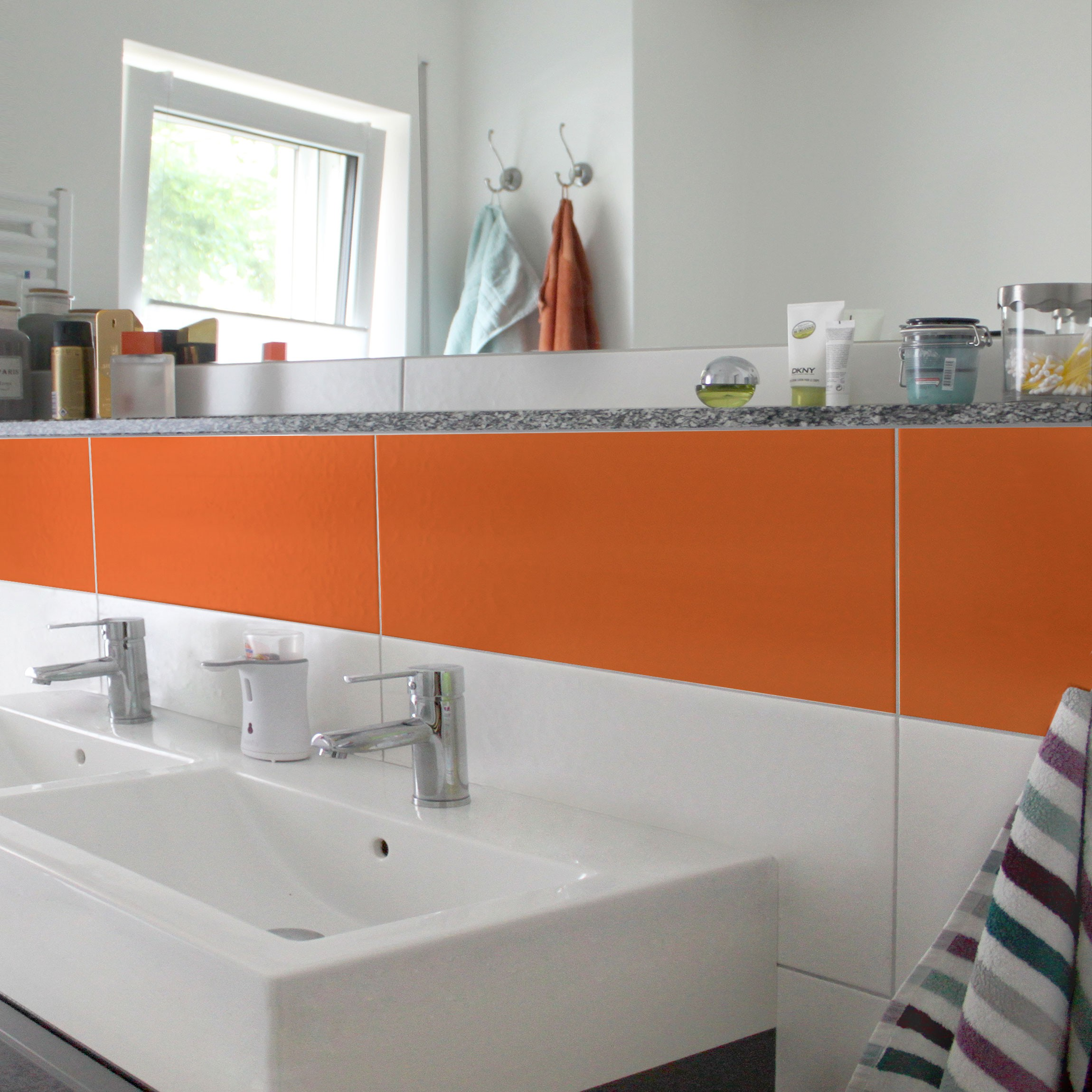 Fliesen bord re colour orange 30x60 cm fliesenaufkleber - Orange fliesen ...
