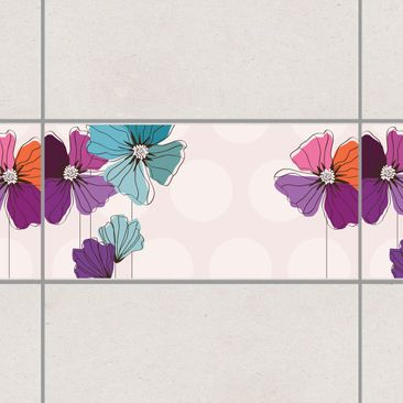 Product picture Tile Border - Poppies In Pastel 30cm x...