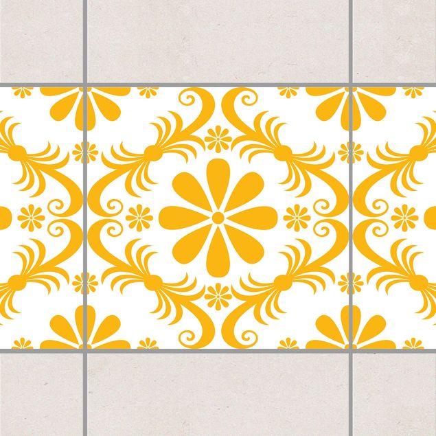 Fliesen Bordüre - Blumendesign White...