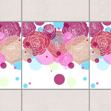 Product picture Tile Border - Roses and Bubbles 15cm x...
