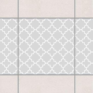 Produktfoto Fliesen Bordüre - Traditional Quatrefoil Light Grey 15x15 cm - Fliesenaufkleber Grau