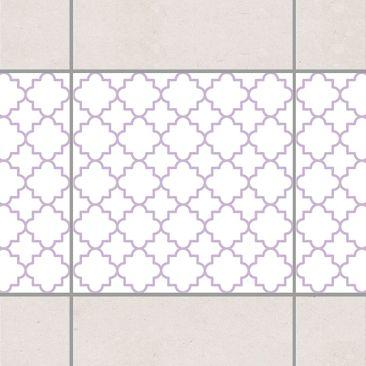 Produktfoto Fliesen Bordüre - Traditional Quatrefoil White Lavender 15x15 cm - Fliesenaufkleber Flieder