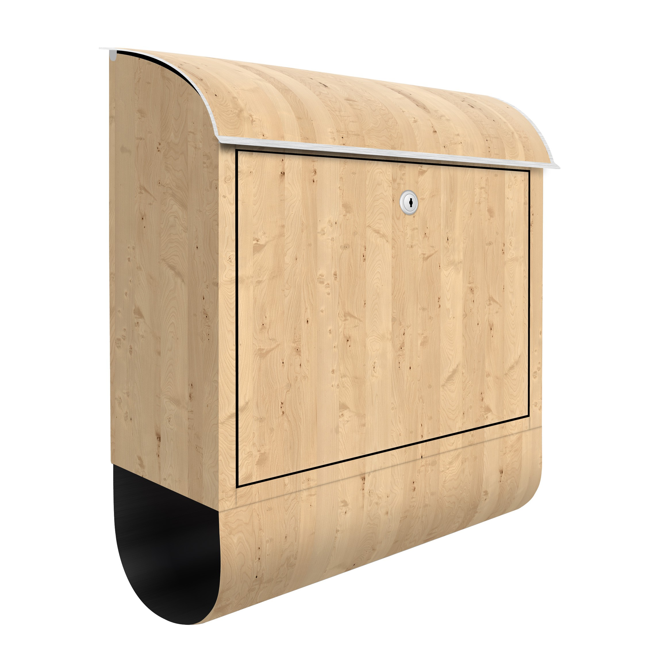 briefkasten holz apfelbirke holzoptik wandbriefkasten braun. Black Bedroom Furniture Sets. Home Design Ideas