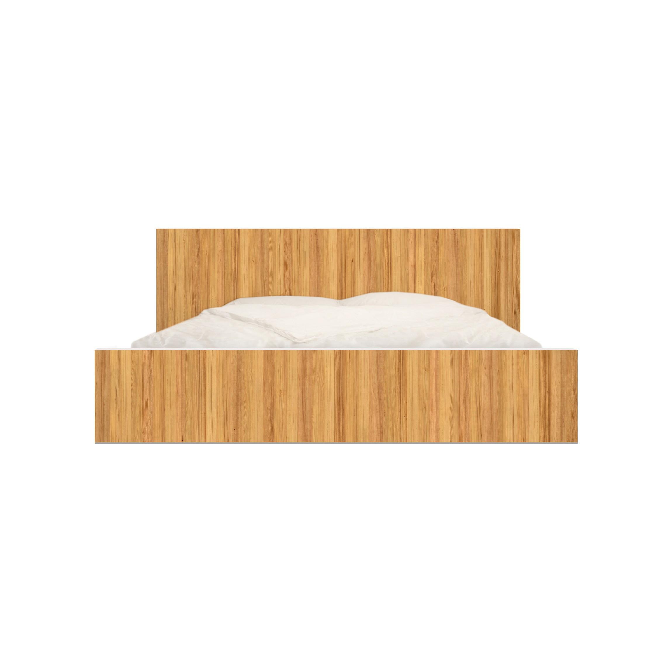 m belfolie f r ikea malm bett niedrig 140x200cm klebefolie wei tanne. Black Bedroom Furniture Sets. Home Design Ideas
