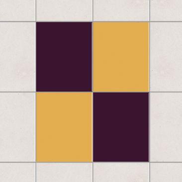 Produktfoto Fliesenaufkleber - Farbset Aubergine Gelb 25x20 cm - Fliesensticker Set