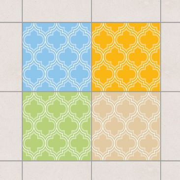 Produktfoto Fliesenaufkleber - Retro Marokko Farbset 10x10 cm - Fliesensticker Set