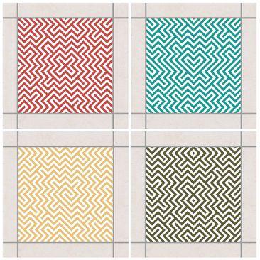 Immagine del prodotto Adesivo per piastrelle - Geometric Design Colour Set 15cm x 15cm