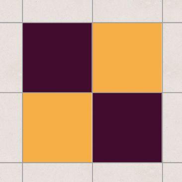 Produktfoto Fliesenaufkleber - Farbset Aubergine Gelb 15x15 cm - Fliesensticker Set