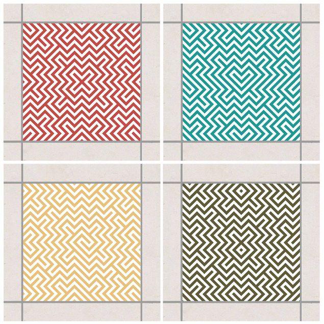 Produktfoto Fliesenaufkleber - Geometrisches Design Farbset 20x20 cm - Fliesensticker Set