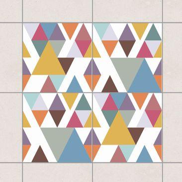 Produktfoto Fliesenaufkleber - Bunte Dreiecke Set 20x20 cm - Fliesensticker Set