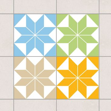 Produktfoto Fliesenaufkleber - Sternenmuster Farbset 20x20 cm - Fliesensticker Set