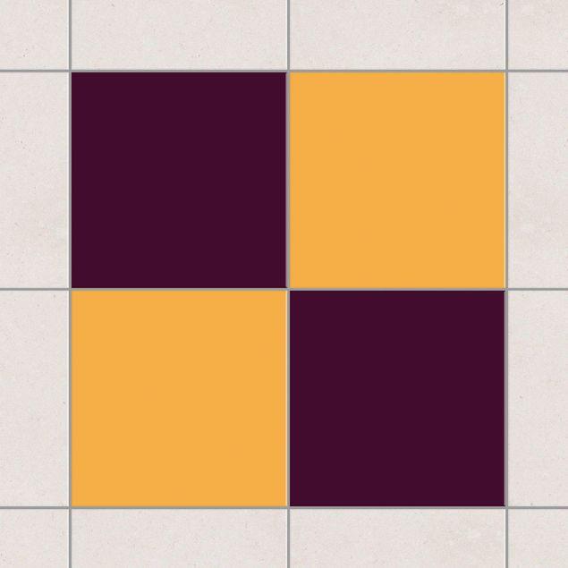 Produktfoto Fliesenaufkleber - Farbset Aubergine Gelb 20x20 cm - Fliesensticker Set